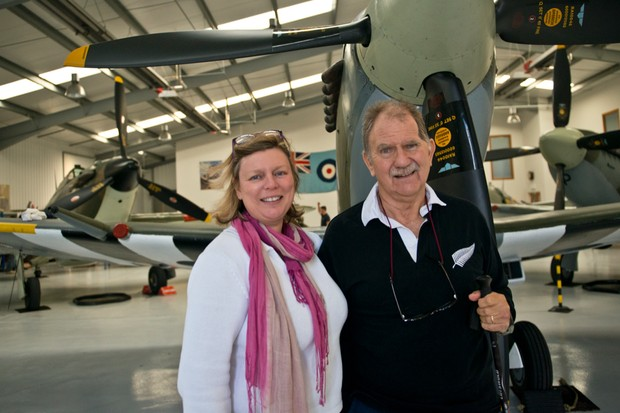 Richard and Fiona at the Spitfire experience, Biggin Hill © BBC