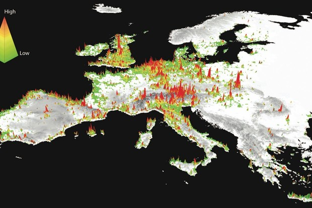 A 3-D map shows social media posts to photo-sharing platforms in the European Union © Center for Geospatial Analytics, North Carolina State University