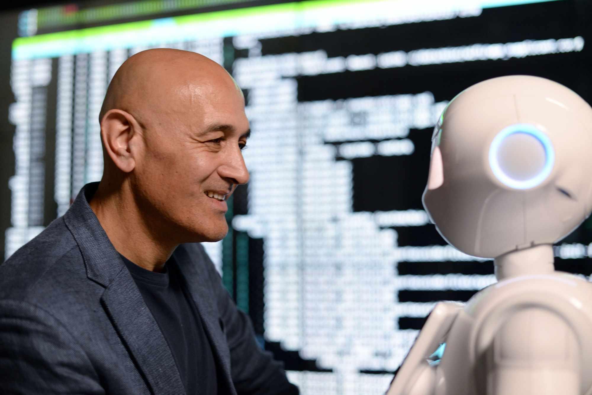 Professor Jim Al-Khalili befriends Alana - an advanced conversational AI © BBC/Wingspan Productions/Jodie Adams