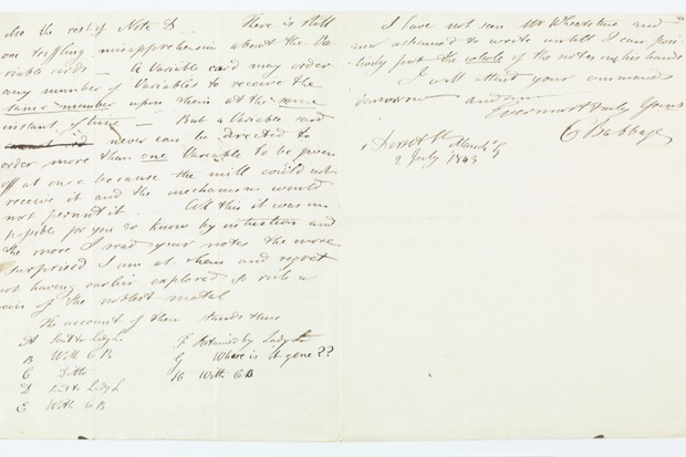 Charles Baggage's letter to Ada Lovelace © Bodleian Library, University of Oxford
