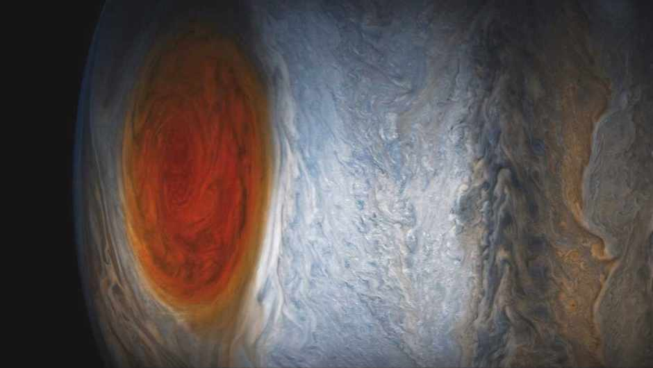 Enhanced colour image of Jupiter's Great Red Spot, a mega storm that's been swirling since at least the 19th Century © NASA/JPL