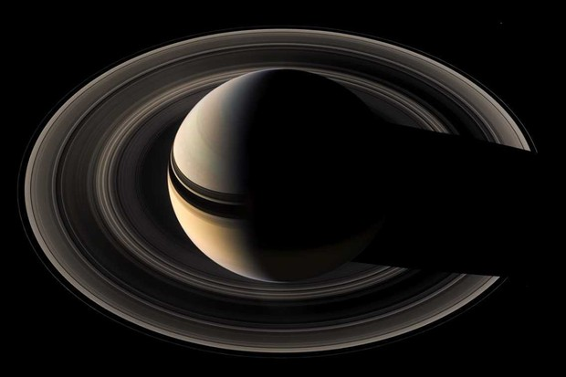Saturn casts a shadow in its rings © NASA