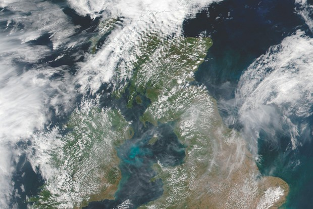 NASA MODIS satellites captured this view from space of the British Isles on 25 July 2018 © Atlas Photo Archive/NASA