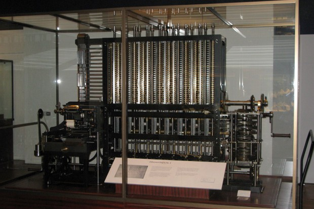A modern version of Babbage's Difference Engine, a precursor of the Analytical Engine – photo by User:geni - Photo by User:geni, CC BY-SA 4.0, https://commons.wikimedia.org/w/index.php?curid=4807331