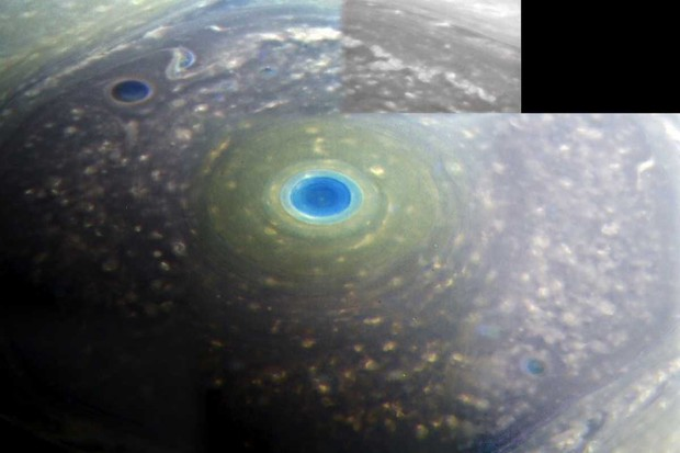 North pole of Saturn in approximate true colour © NASA