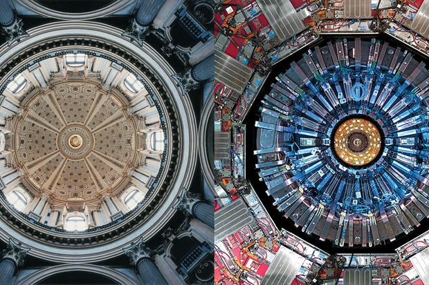 Dome of the Basilica of Superga, Turin, Italy, ca. 1717–31 © Courtesy of David Stephenson. From David Stephenson, Visions of Heaven (New York: Princeton Architectural Press, 2005) / Compact Muon Solenoid, Large Hadron Collider, Cessy, France, 2008 © 2008 CERN, for the benefit of the CMS Collaboration