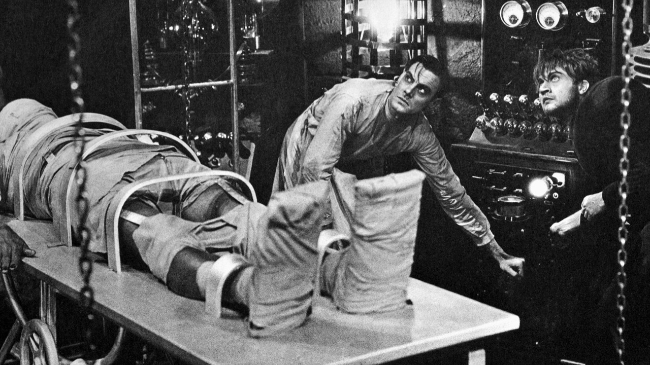 Colin Clive, as Dr. Frankenstein, and Dwight Frye, as his assistant Fritz, prepare to bring their monster to life in a scene from the 1931 movie version of Mary Shelley's Frankenstein © Bettmann/Getty Images