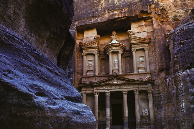 PETRA, JORDAN ? NOVEMBER 13, 1974: Façade of The Treasury or Al Khazneh at Petra in Jordan on November 13, 1974. Petra is the rose-red city discovered by the Western world in 1812 at Mount Hor in the Arabah valley near the Dead Sea. Petra was the capital of the Nabataeans and the center of their caravan trade. It is a popular tourist destination and a World Heritage Site. (Photo by Nathan Benn/Corbis via Getty Images)