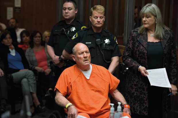 Joseph James DeAngelo, the suspected East Area Rapist, is arraigned in a Sacramento courtroom and charged with murdering Katie and Brian Maggiore in Rancho Cordova in 1978 on Friday, April 27, 2018, in Sacramento, Calif. (Randy Pench/Sacramento Bee/TNS via Getty Images)