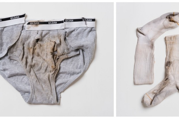 Underwear worn by Jaime Santana and socks worn by Justin Gauger when they were struck by lightning © William LeGoullon