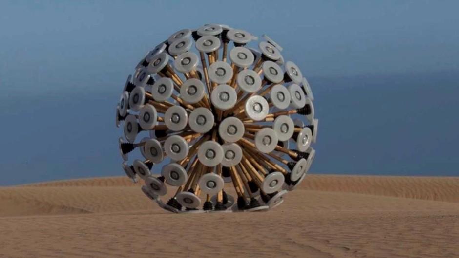 The 'mine kafon' detonates mines as it is blown around by the wind