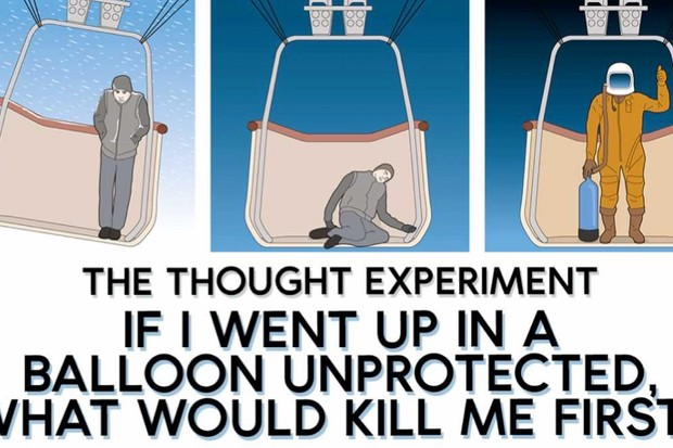 The thought experiment: If I went up in a balloon unprotected, what would kill me first?