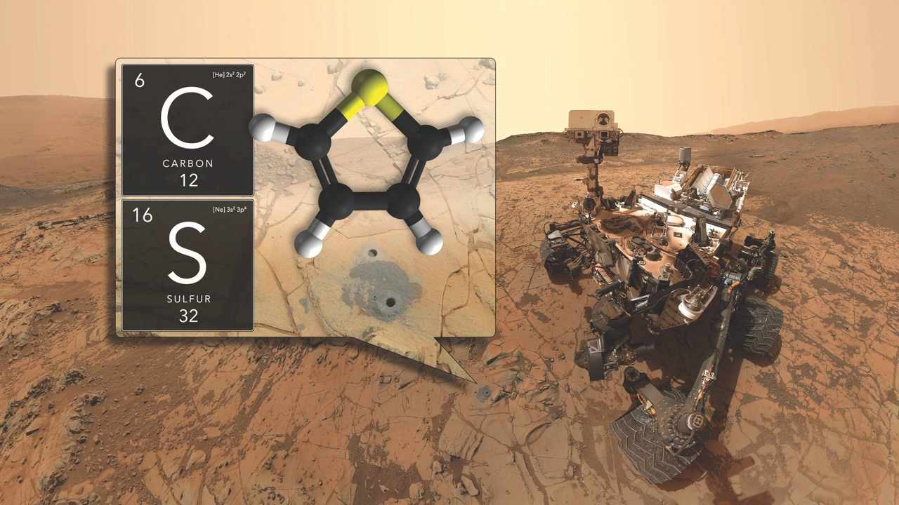 The Curiosity Rover found carbon-based organic molecules, indicative of life, after drilling into the Martian surface © NASA
