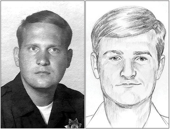 Joseph DeAngelo, the Golden State Killer, during his years as a police officer, and (right) a 1976 police sketch of the killer