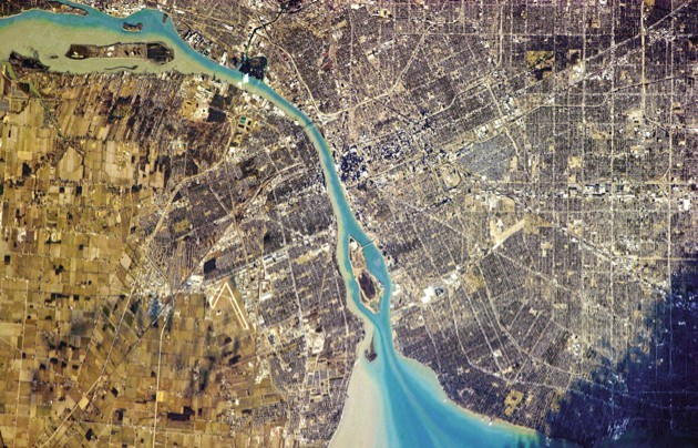 Detroit, Michigan, right, and Windsor, Ontario - two countries, one river