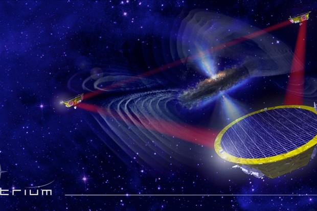 Artist's impression of the three LISA spacecraft © EADS Astrium