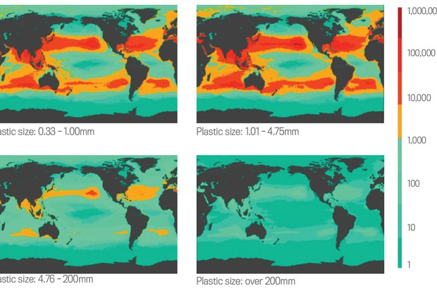 At least five trillion pieces of plastic are floating in our seas. The majority are microplastics measuring under 5mm. These maps show the density of different sized plastics in each square kilometre of the Earth's oceans