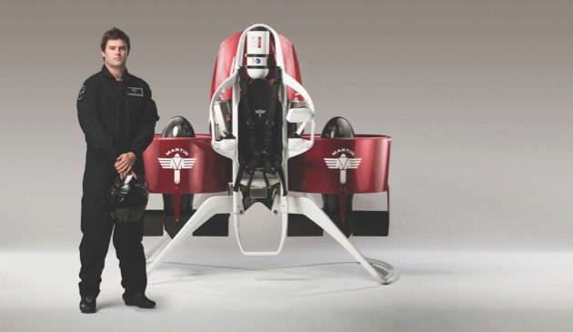 The Martin Jetpack can hit a top speed of 74km/h (45mph) and operates at a recommended cruise height of 150m (500ft). Image: Martin Jetpack