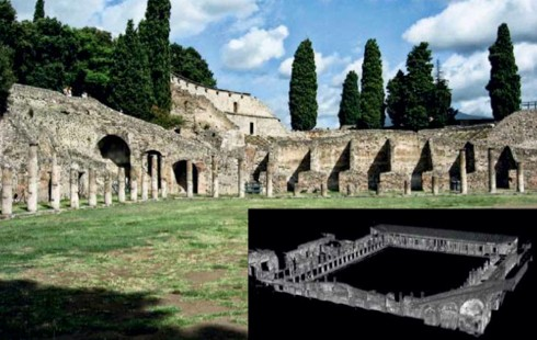 The Pompeii Quadriporticus Project aims to recreate the structure of the city's gymnasium using digital scanning technology (inset)