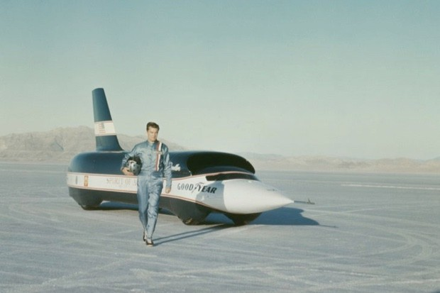 Craig Breedlove stands in front of Spirit of America - Sonic 1 before setting a new world record of 555 mph at Bonneville Salt Flats in Utah, USA on 2 November 1965. (Rolls Press/Popperfoto/Getty Images)