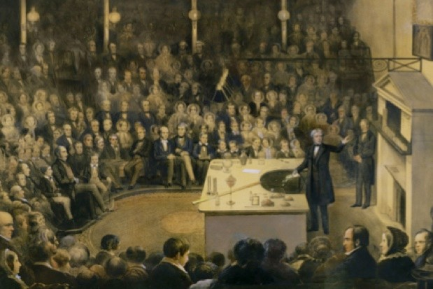 Michael Faraday presenting the 1855 lectures, one of his 19 series © Royal Institution