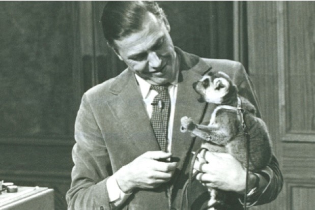 Attenborough in full flow during his 1973 lectures © Royal Institution