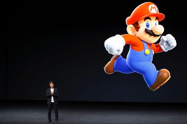 Shigeru Miyamoto, creator of Super Mario announces Super Mario Run at the Apple iPhone 7 launch © Stephen Lam/Getty Images