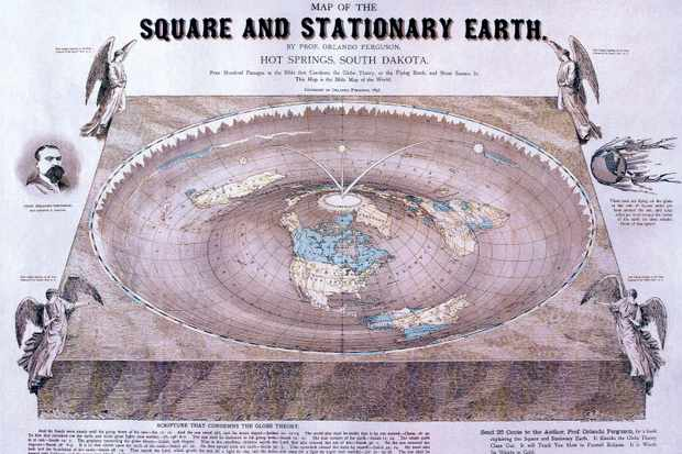 Flat-Earth theories enjoyed a resurgence in the late 19th Century: this map of the world dates from 1893
