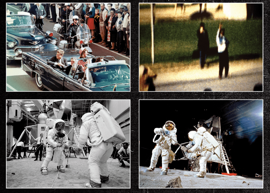 Flat Earthers are not unique: other popular conspiracy theories concern the assassination of JFK (top row) and the Moon landings (bottom row) © NASA/Getty Images