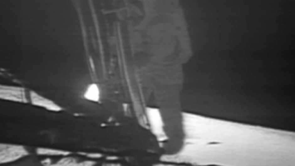 Neil Armstrong descends the ladder of the Apollo 11 Lunar Module to become the first human to set foot on the Moon (credit: NASA)
