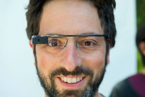 Sergey Brin tries a pair of Google Glass