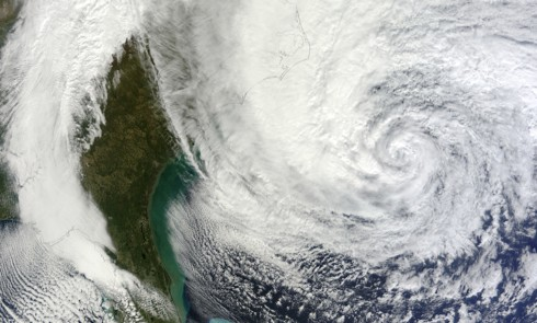 A satellite image of Hurricane Sandy as it approached the southeastern United States (credit: MODIS Rapid Response Team, NASA/GSFC)