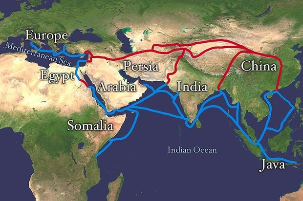 Extent of Silk Route/Silk Road. Red is land route and the blue is the sea/water route. NASA/Wikimedia