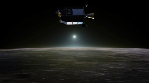 An artist's concept of the LADEE spacecraft in orbit above the Moon (image credit: NASA Ames / Dana Berry)