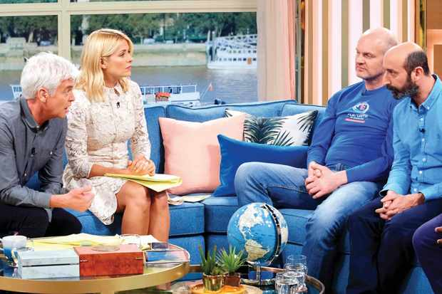Gary Heather (second left) appeared on ITV's This Morning. Presenters Phillip Schofield and Holly Willoughby were unimpressed with his theories © Shutterstock