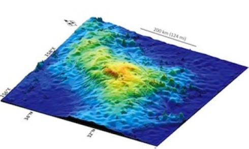 This 3D image of the seafloor shows Tamu Massif, recently confirmed as the largest single volcano on Earth (image credit: William Sager)