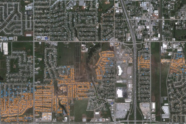Satellite images showing the path of a tornado