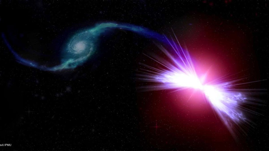 An artist's rendition of the galaxies Akira (right) and Tetsuo (left) © Kavli IPMU