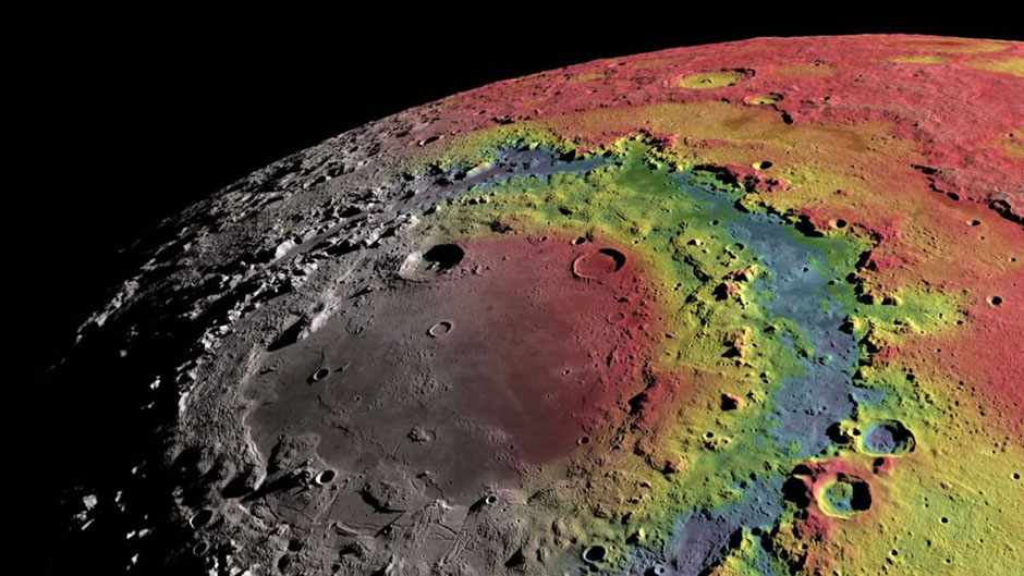 Free-air gravitational anomalies and shaded topographic relief of the moon's 930-km-diameter Orientale impact basin © Ernest Wright, NASA/GSFC Scientific Visualization Studio