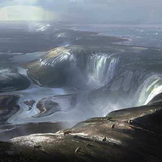 Artist's impression of waterfalls pouring over the original land bridge connecting England with France © Imperial College London/Chase Stone