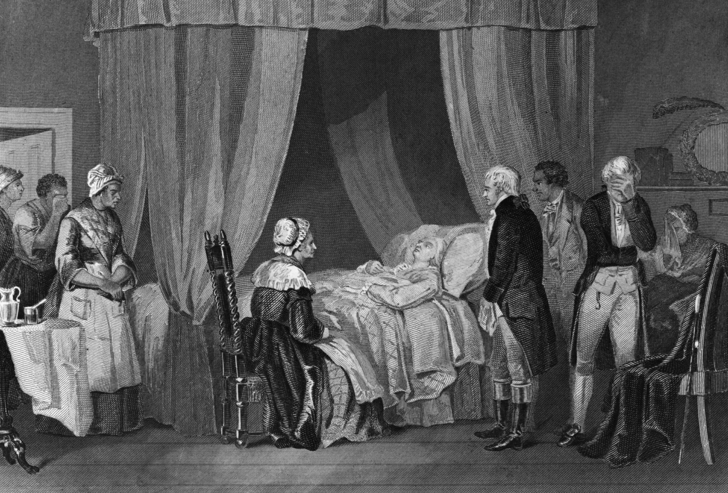 circa 1799:  The deathbed of George Washington (1732 - 1799), the 1st President of the United States of America (1789 - 1797). (Photo by Hulton Archive/Getty Images)