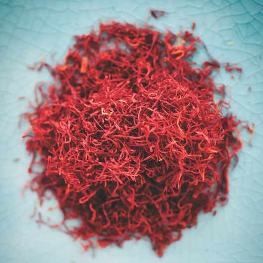 Studio shot of heap of saffron