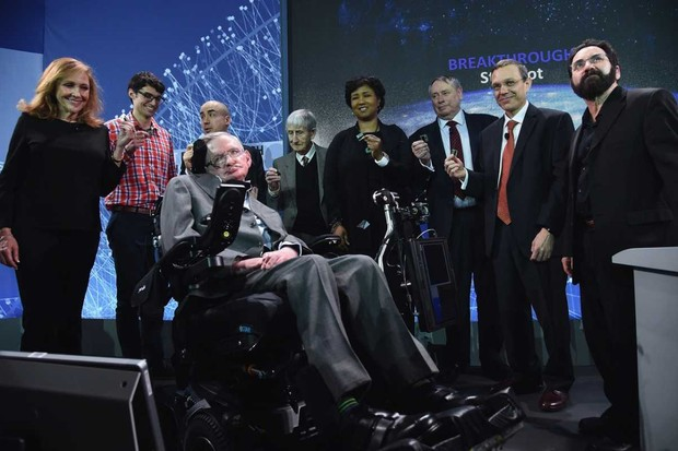 Stephen Hawking and others attend the New Space Exploration Initiative 'Breakthrough Starshot' Announcement at One World Observatory on 12 April 2016 in New York City, USA © Gary Gershoff/WireImage
