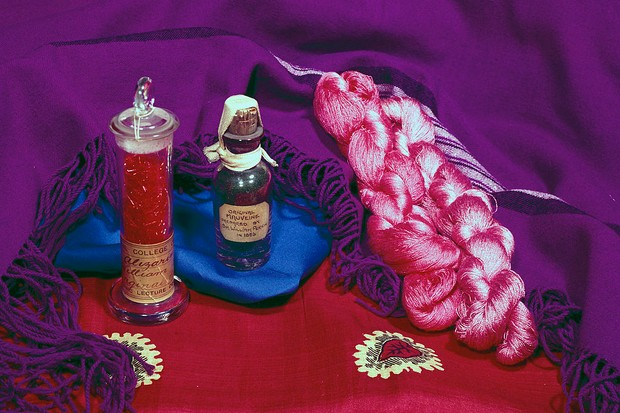 The bottle on the right is a sample of mauveine acetate dye probably prepared by William Henry Perkin (1838-1907) around 1863-1864 © SSPL/Getty Images