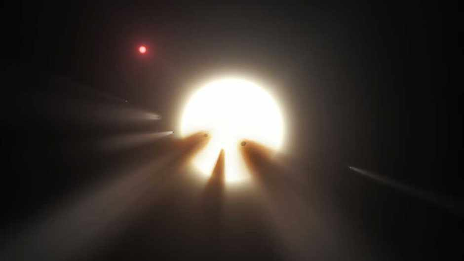 Artist's conception shows KIC 8462852 behind a shattered comet © NASA/JPL-Caltech