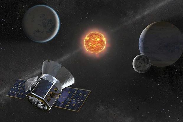 Illustration of NASA's Transiting Exoplanet Survey Satellite -- TESS -- observing an M dwarf star with orbiting planets © NASA