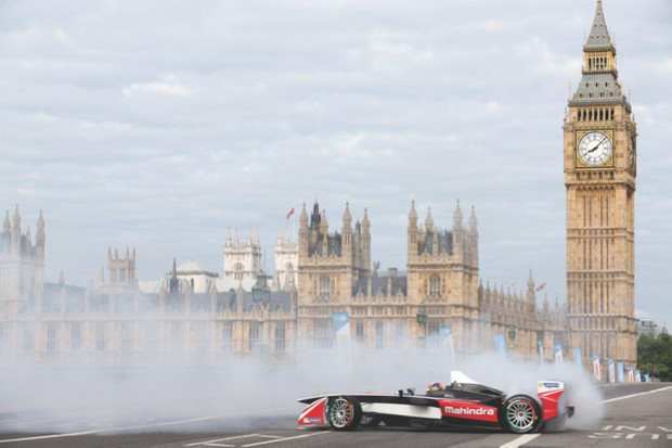 Formula E was launched at a special event in London, with the cars showing the public what they're capable of (image credit: FIA)