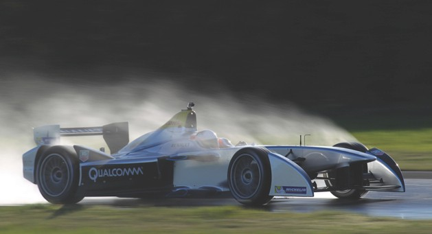 Michelin puts a set of tyres for the competition through their paces in wet conditions (image credit: FIA)