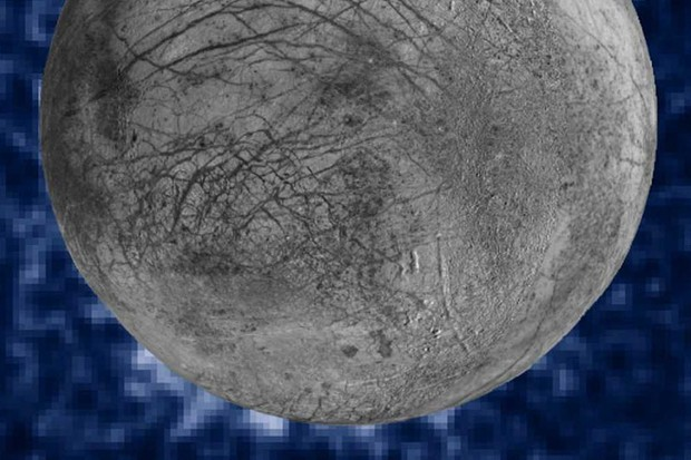Composite image of suspected water vapour plumes erupting at the seven o'clock position off the limb of Jupiter's moon Europa © NASA, ESA, W. Sparks (STScI), and the USGS Astrogeology Science Center