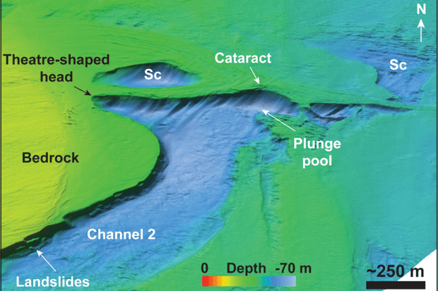 3D view of an ancient large waterfall in a valley in the central part of Dover Strait. A plunge pool lies at its base © Imperial College London/Professor Sanjeev Gupta and Dr Jenny Collier